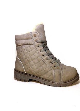 Ботинки женские зимние, серые, на шнуровке и молнии. размер 35...
