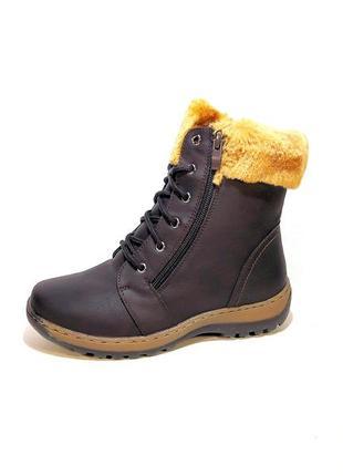 Ботинки женские, зимние, коричневые, модные и теплые. размер 3...