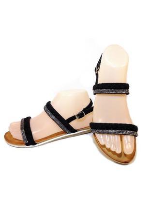 Босоножки сандалии женские замшевые, черные.