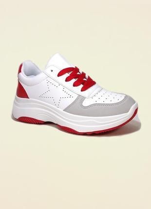 Кроссовки женские, белые с красным, на платформе, для бега. ра...