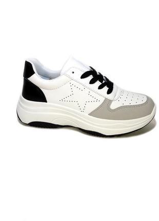 Кроссовки женские, белые с черным, на платформе, для бега. раз...