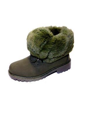 Ботинки, женские, зимние, теплые, на шнуровке, с опушкой.