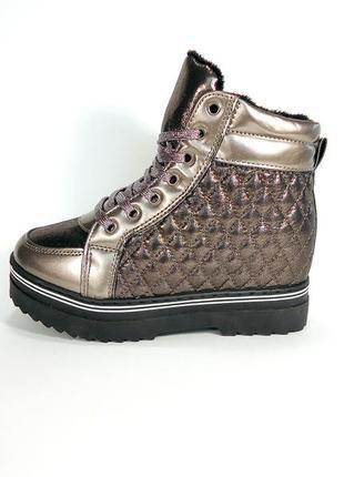 Демисезонные женские ботинки на толстой подошве и скрытой танк...