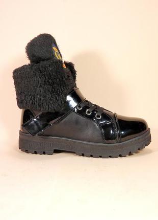 Ботинки женские, зимние, черные, на шнуровке с липучкой. 36,37...