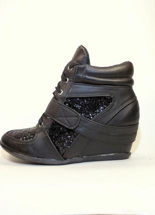 Ботинки-сникерсы женские демисезонные на шнурках и липучке. ра...