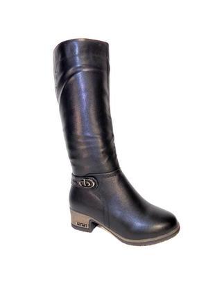Сапоги зимние женские высокие, на каблуке, теплые, комфортные.