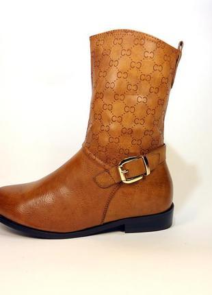 Сапоги-полусапожки женские демисезонные на устойчивом каблуке....
