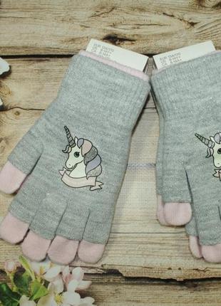 Детские двойные перчатки митенки h&m с единорогом. размер 8-14...