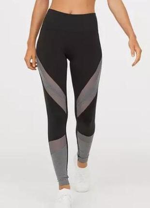 Новые спортивные лосины h&m со вставкам и сетки. размер l-xl