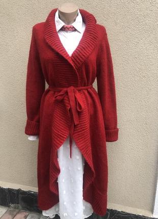 Красный кардиган,хлопок,мохер кофта,вязаное пальто,