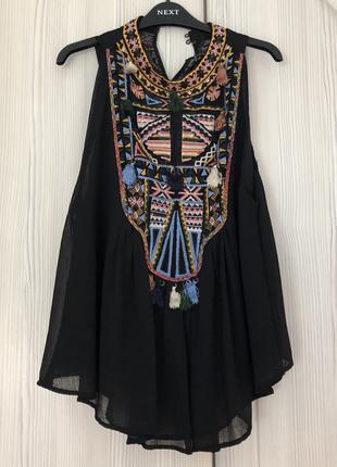 Блуза вышиванка черная zara woman