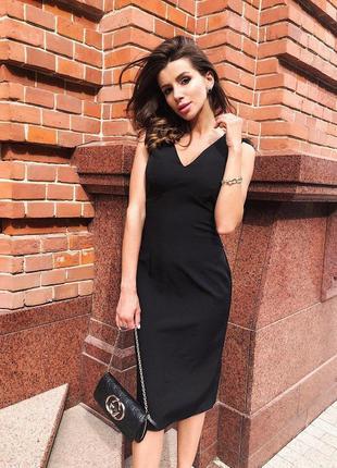 Маленькое черное платье / классическое  / страусиные перья