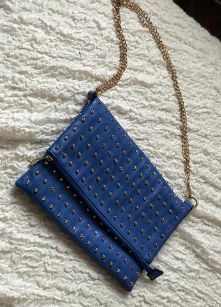 Синяя сумка клатч на цепочке
