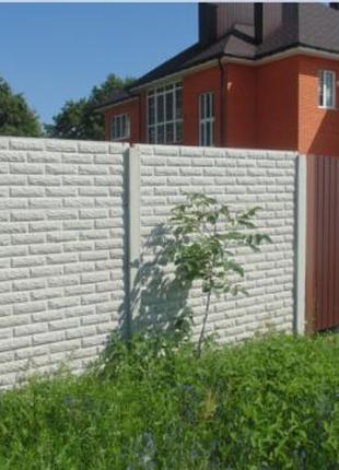 АКЦИЯ! Секционный Еврозабор из бетона. Покраска Бетонного забора,