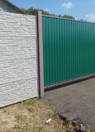 АКЦИЯ! Еврозабор (Секционный бетонный забор) Ворота, Покраска.
