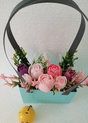 Квіти з мила я букет із мила, тюльпани, букет из мыла