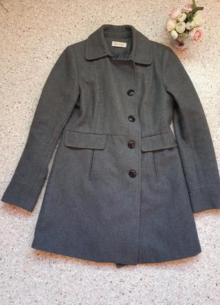 Шерстяное серое пальто осень-весна