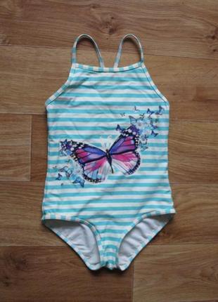 Полосатый купальник с бабочками
