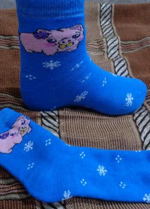 Качественные махровые носочки с  поросенком. 4 цвета.