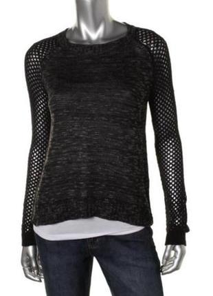 """Пуловер, свитер серый с черными рукавами """"сеточка""""  m - very s..."""