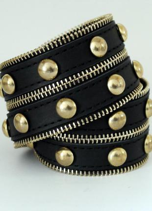 Кожаный браслет Молния SW-866 Gold / Silver