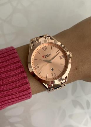Женские наручные металлические часы curren blanche каррен розо...