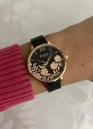 Женские наручные металлические часы curren blanche каррен черн...