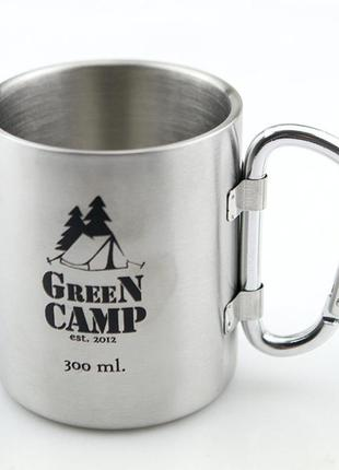 Термокружка world sport greencamp 300 мл ручка-карабин