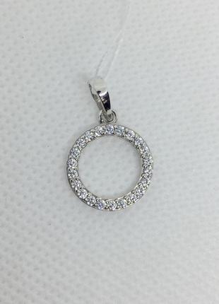 Новая родированая серебряная подвеска фианиты серебро 925 пробы