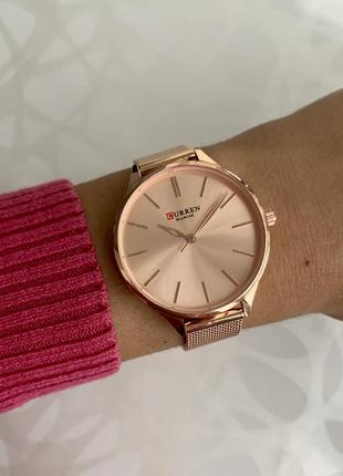 Женские наручные металлические часы curren blanche каррен розовые