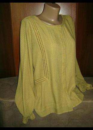 Шикарная летняя  блуза с ришелье🌿🌼🌿  размер 18,marks & spencer