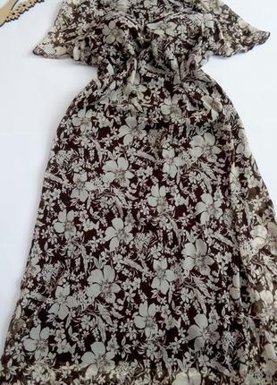 Платье 56 54  размер длинное  шифоновое  осеннее нарядное на н...