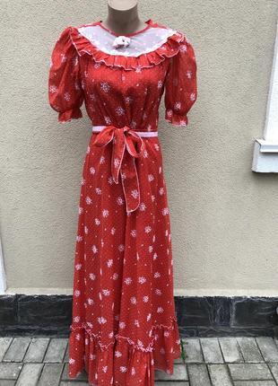 Винтаж,красное,длинное платье,этно,бохо,деревенский стиль,
