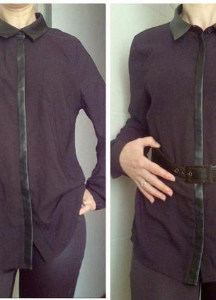 Блузка рубашка модная с кожаными вставками