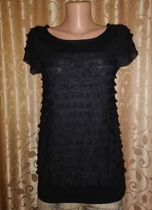 🌺🎀🌺красивая женская черная трикотажная футболка, блузка в рюш ...