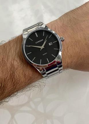 Мужские металлические часы curren каррен серебристые с черным ...