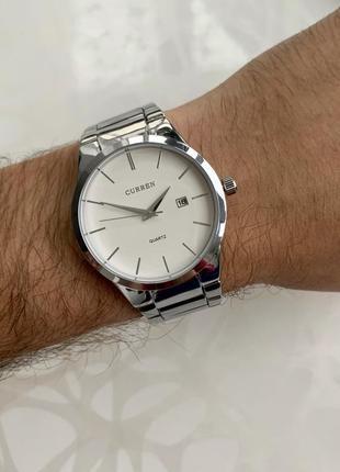 Мужские металлические часы curren каррен серебристые с датой