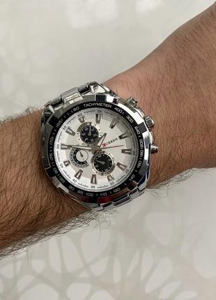 Мужские металлические часы curren каррен серебристые с белым