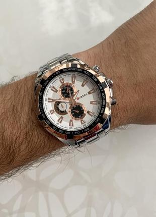Мужские металлические часы curren каррен серебристые с белым и...