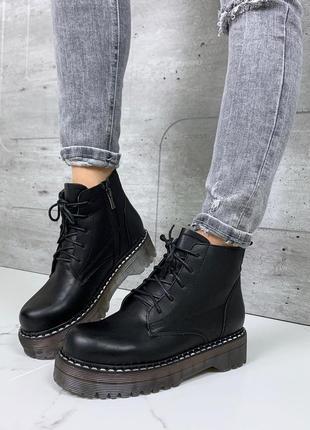 Зимние короткие ботинки мартинсы,ботинки на массивной подошве,...