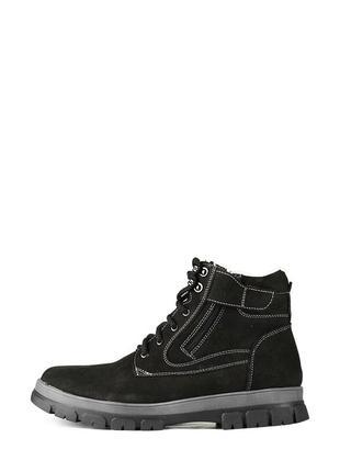 Зимние мужские кожаные черные ботинки натуральный нубук
