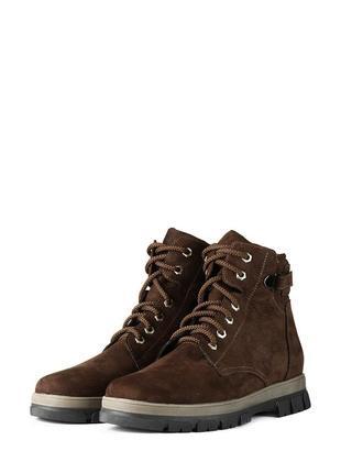 Зимние мужские кожаные коричневые ботинки натуральный нубук