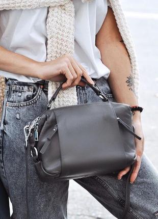Женская кожаная сумка polina & eiterou трансформер чёрная сера...