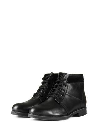 Зимние кожаные мужские классические черные ботинки натуральная...