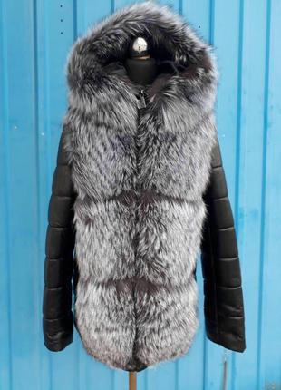 Акция!!! роскошная кожаная куртка с мехом чернобурки