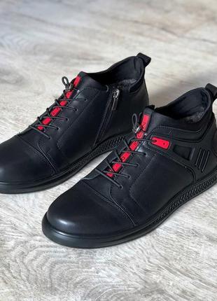 Мужские зимние кожаные туфли полуботинки ботинки