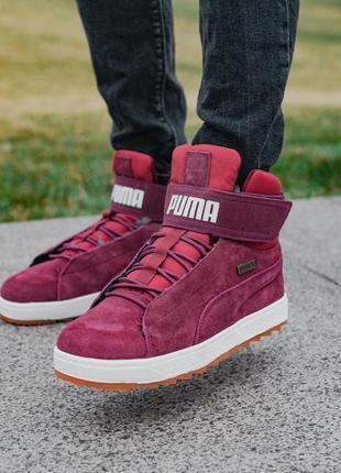 ❄️зимние puma platform bordo❄️мужские замшевые кроссовки пума ...
