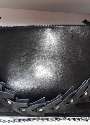 """Женская сумка """"елочка""""из натуральной кожи."""