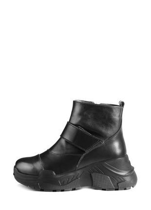 Хит! женские зимние кожаные черные ботинки на массивной подошв...