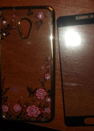 Чехол + защитное стекло meizu m5s